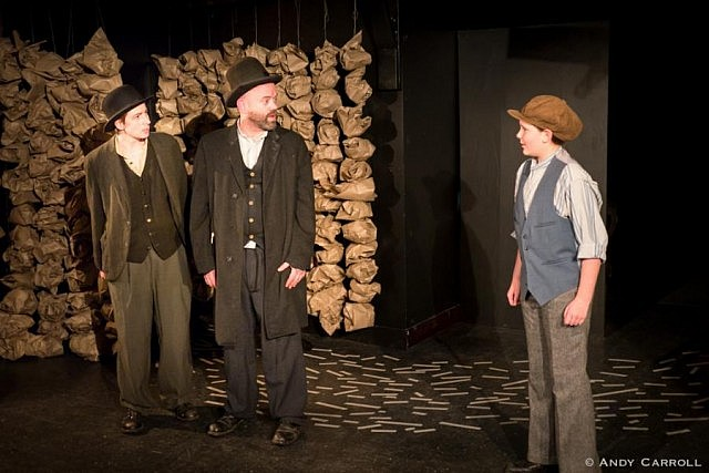 Estragon (Kate Story), Vladimir (Dan Smith), and Boy (Sam Weatherdon)