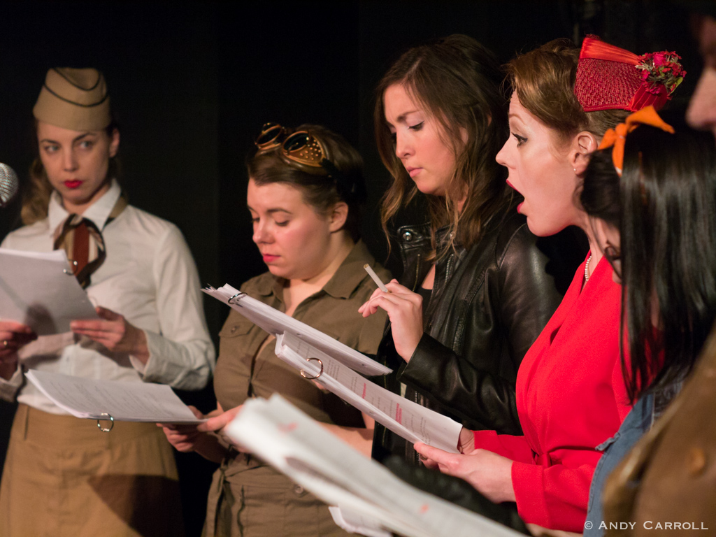 Lillian Steel (Marsala Lukianchuk), Peggy Sparks (Melanie Dubois), Giselle Gaullier (Jessica Latone), and Ruby Pearl (Sarah McNeilly)