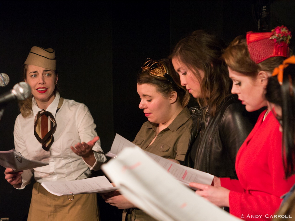 Lillian Steel (Marsala Lukianchuk), Peggy Sparks (Melanie Dubois), Giselle Gaullier (Jessica Latone), Ruby Pearl (Sarah McNeilly), and Pvt. Property (Kate Ethier)