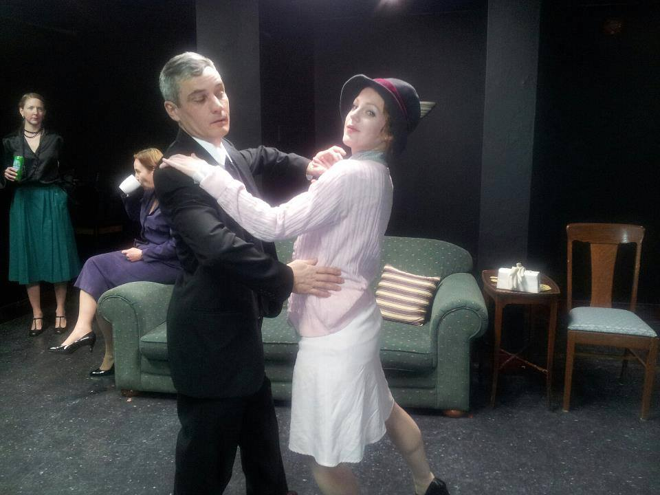 Ryan Kerr and Sarah McNeilly rehearsing choreography; background: Sam Sayer and Esther Vincent