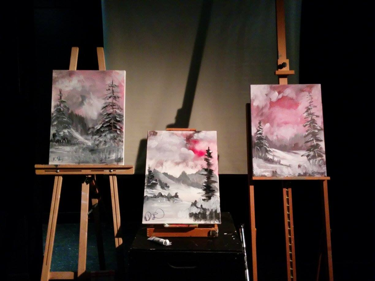 Three paintings finished in under 28 minutes using only three colours: Midnight Black, Titanium White and Alizarin Crimson