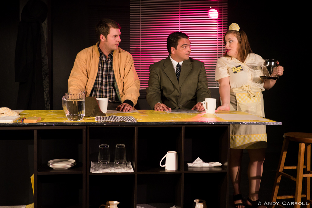 Donald (Andrew Little), Mike (Matt Gilbert), and the Waitress (Meg O'Sullivan)