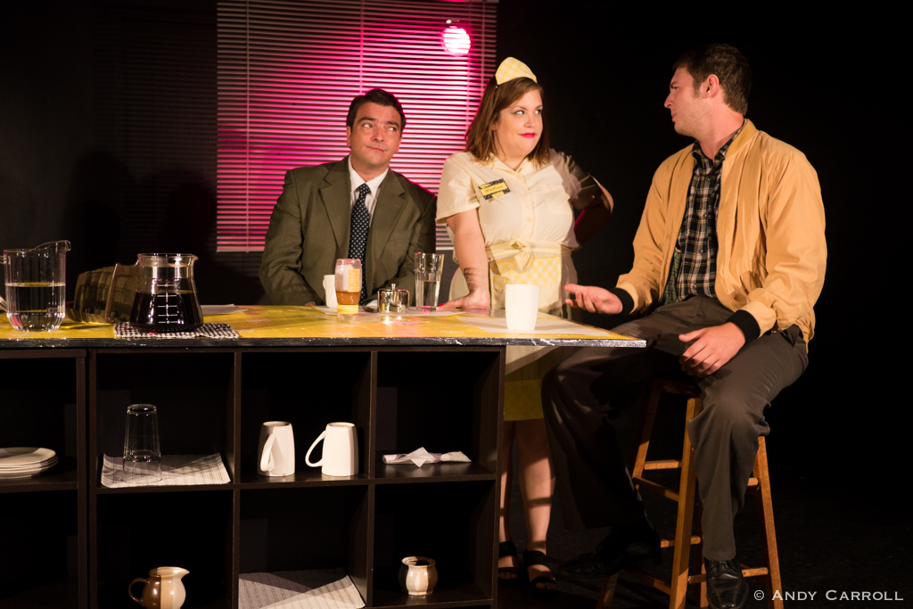 Mike (Matt Gilbert), Waitress (Meg O'Sullivan), and Donald (Andrew Little)