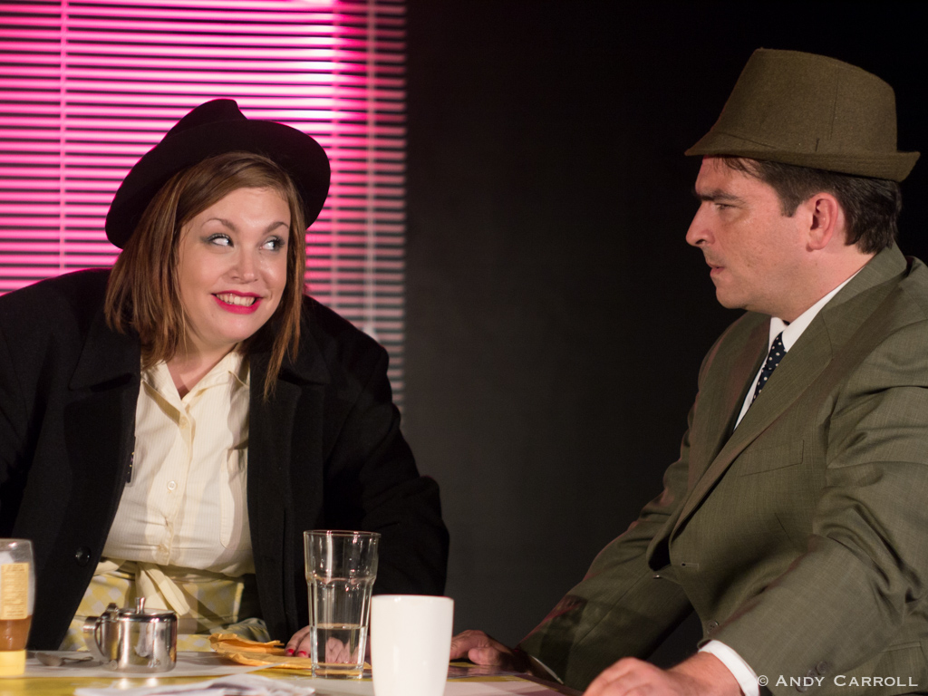 Waitress (Meg O'Sullivan) and Mike (Matt Gilbert)